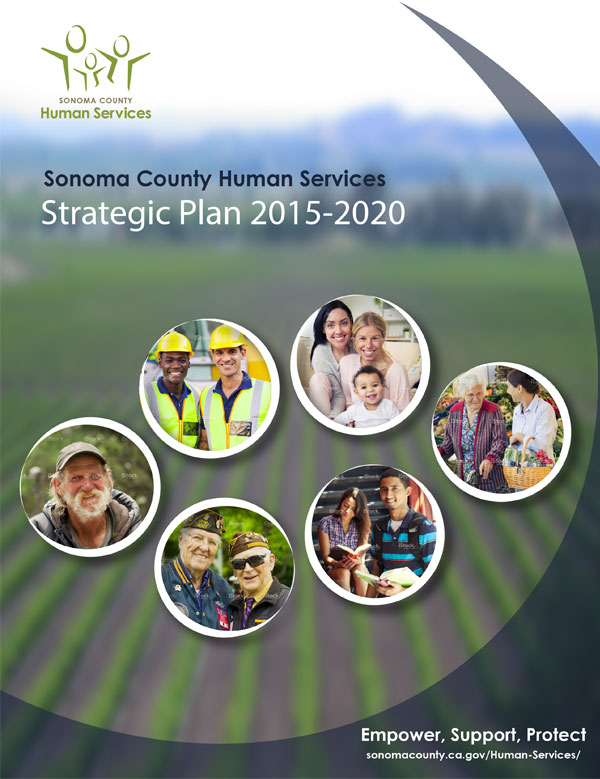 Multiple images to create a composite report cover for Sonoma County Human Services Agency